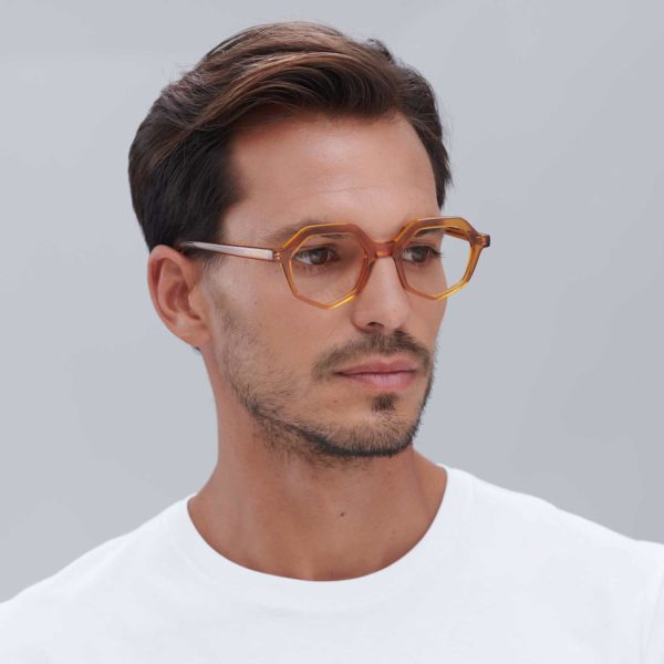 Compostable acetate frame on men's caramel-colored eco-friendly glasses