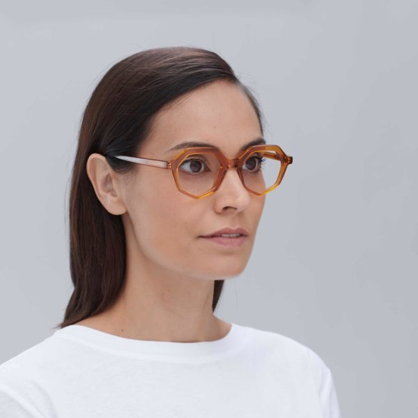 Compostable acetate frame in caramel colour ecological glasses for women