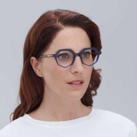 Montura de acetato compostable en gafas ecológicas color azul