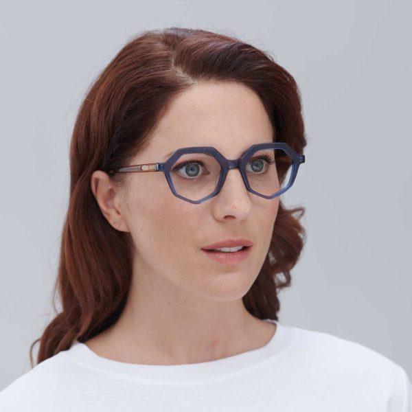 Compostable acetate frame on blue ecological glasses