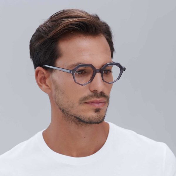Compostable acetate frame in gray ecological glasses