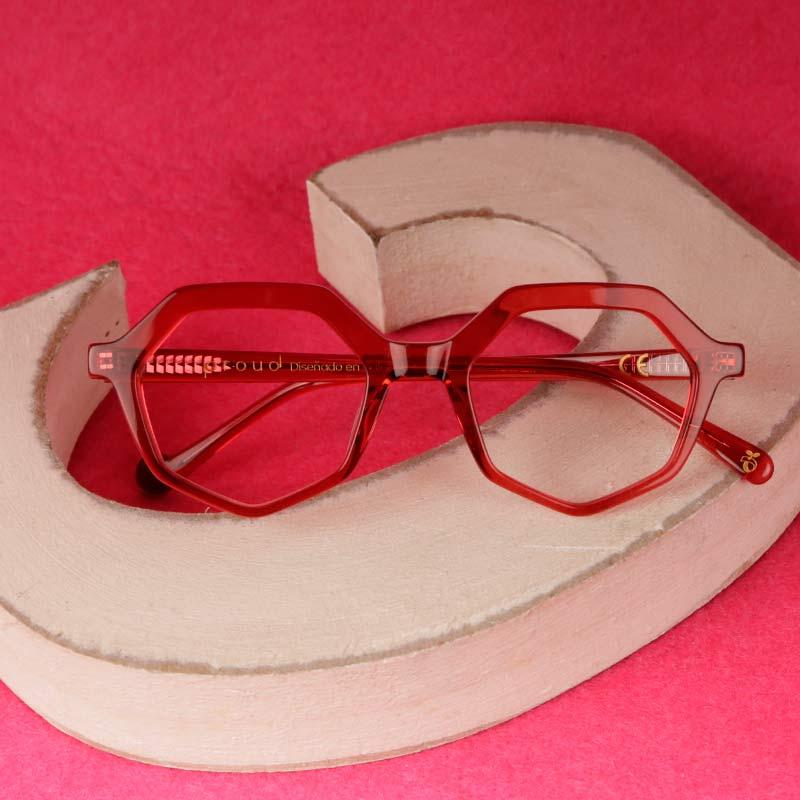 Montura de acetato compostable rojo modelo Roma de Proud Eyewear