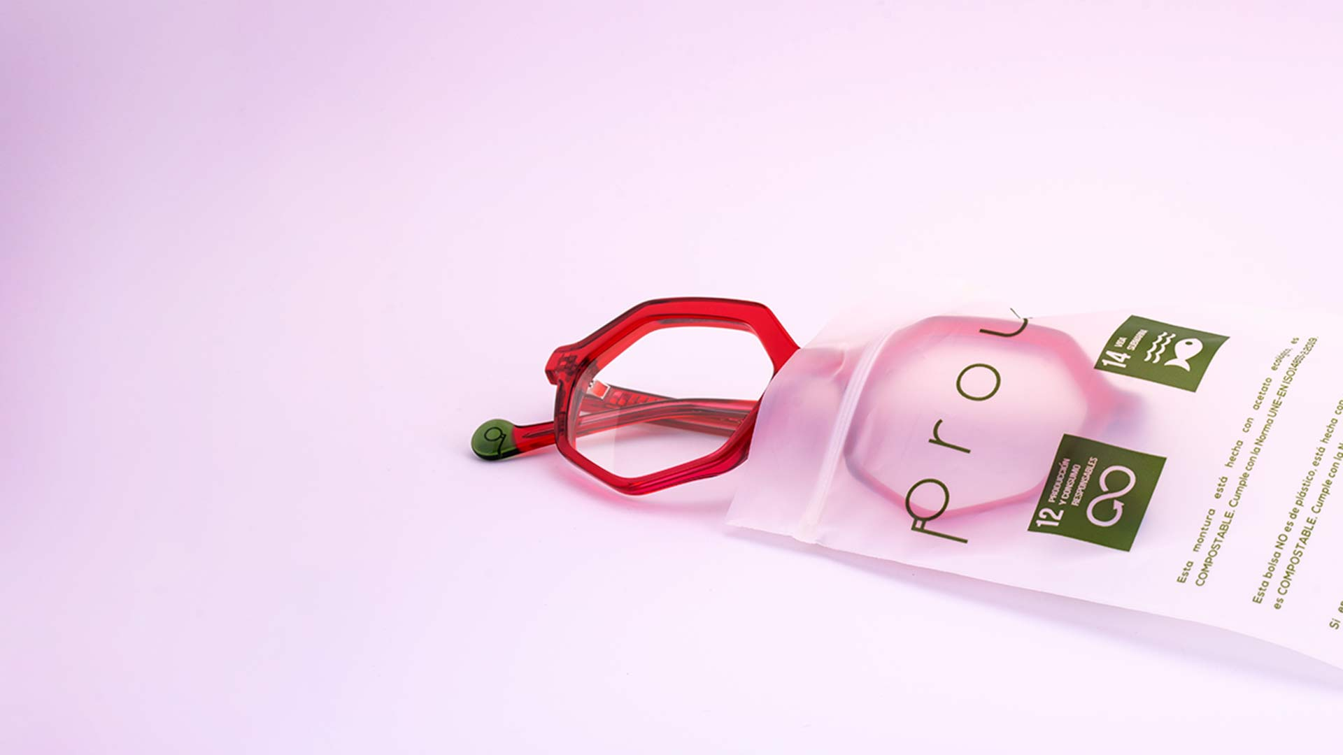 Monturas compostables de acetato de color Porud Eyewear