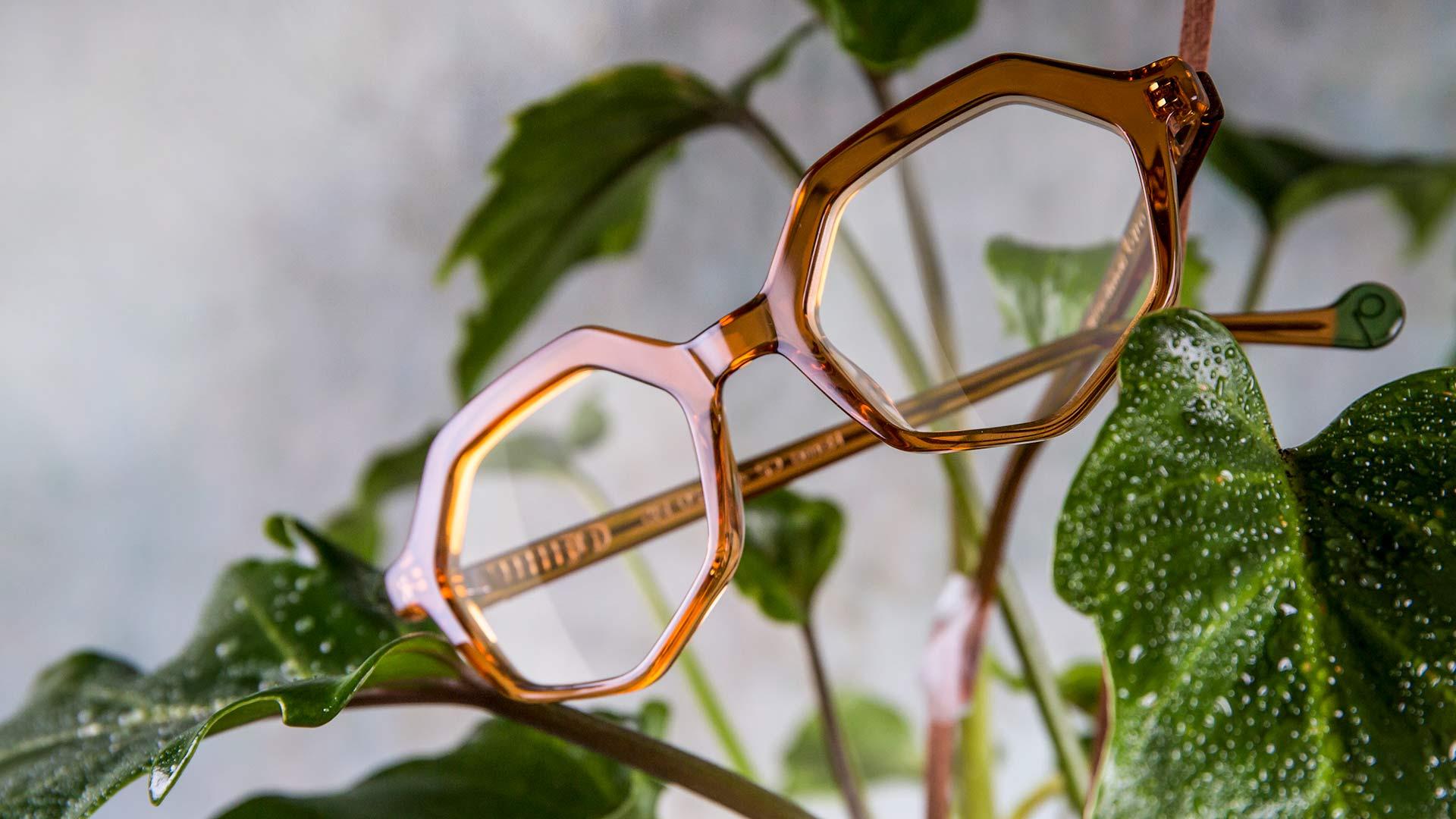 Montura de acetato de color en gafas de diseño sostenible