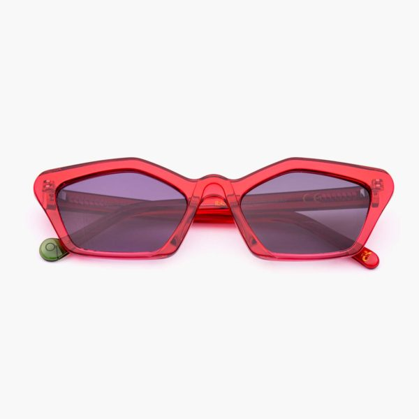 Cat eye sunglasses with compostable frame Ibiza model in red Proud Eyewer