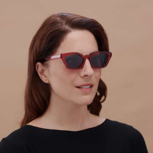 Red cat eye sunglasses with compostable frame