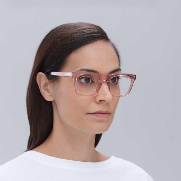 Gafas para graduar de moda sostenible color rosa