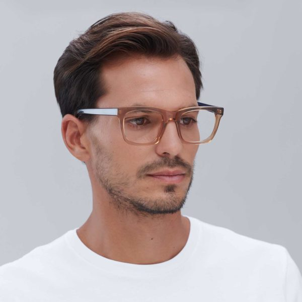 Gafas graduadas de moda sostenible color beige y azul