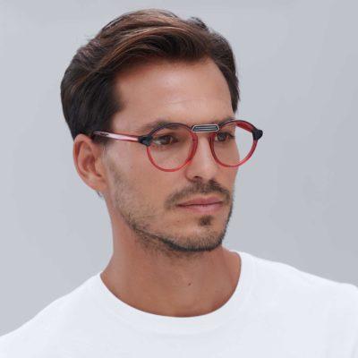 Mini red light modern frame prescription glasses
