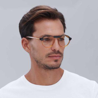 Gafas de acetato compostable para hombre Oxford Black naranja mini