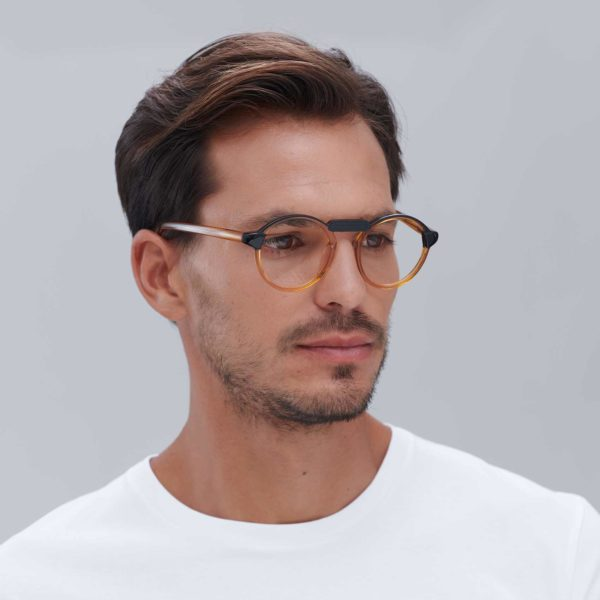Compostable Acetate Glasses for Men Oxford Black Orange Mini