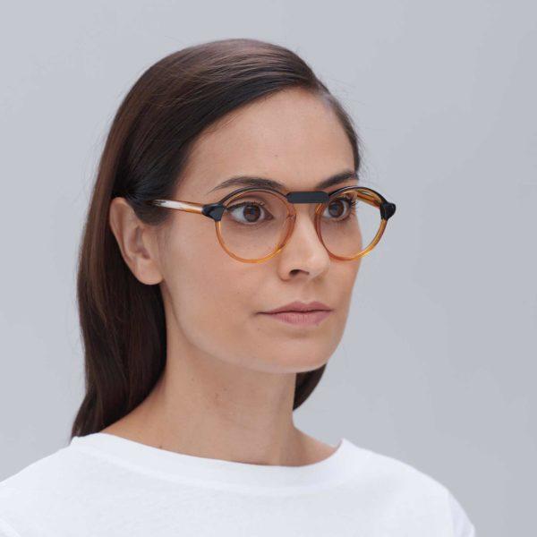 Compostable acetate glasses for women Oxford Black orange mini