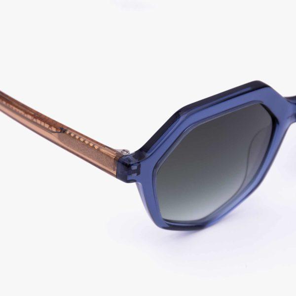 Compostable blue sunglasses detail