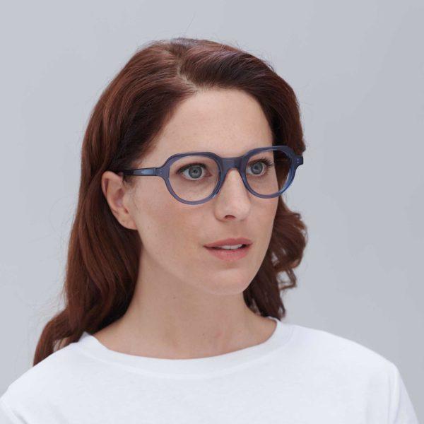 Gafas graduadas de moda sostenible compostables azules
