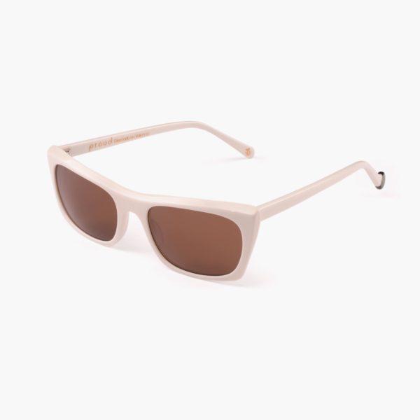 Sustainable sunglasses on white
