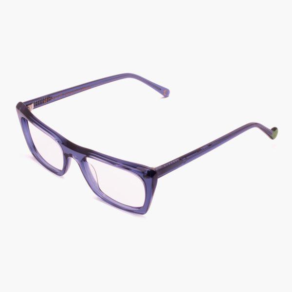 Suggestive compostable acetate glasses in Malvarrosa blue