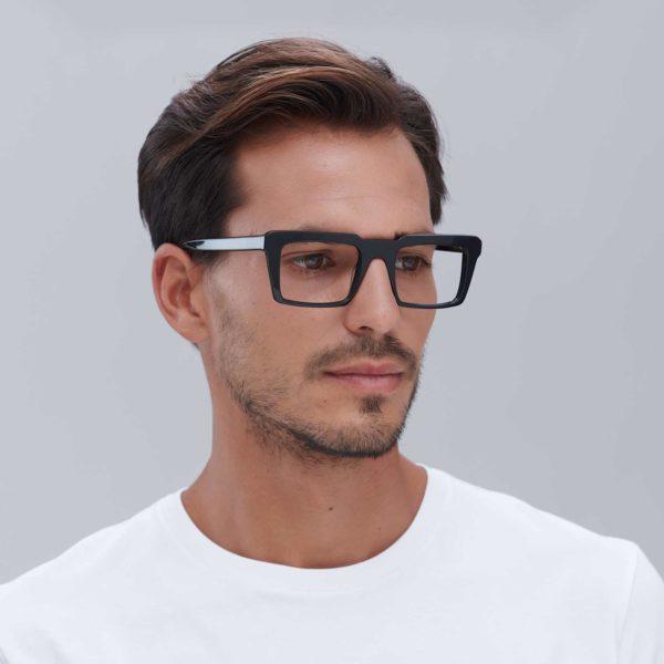 Eco-friendly retro glasses with black compostable frame