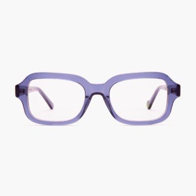 Square compostable unisex sunglasses Model Ruzafa in blue