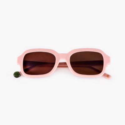 Gafa con lentes de sol amplias de algodón ecológico color rosa palo
